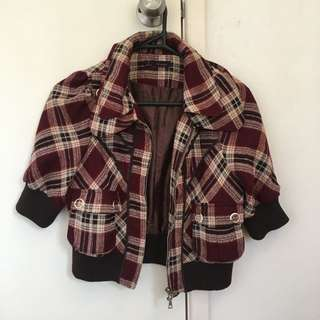 Vintage Plaid Zip Up Crop