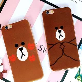 INSTOCK Line Friends Brown iphone 7 7+ 7plus handphone case cover
