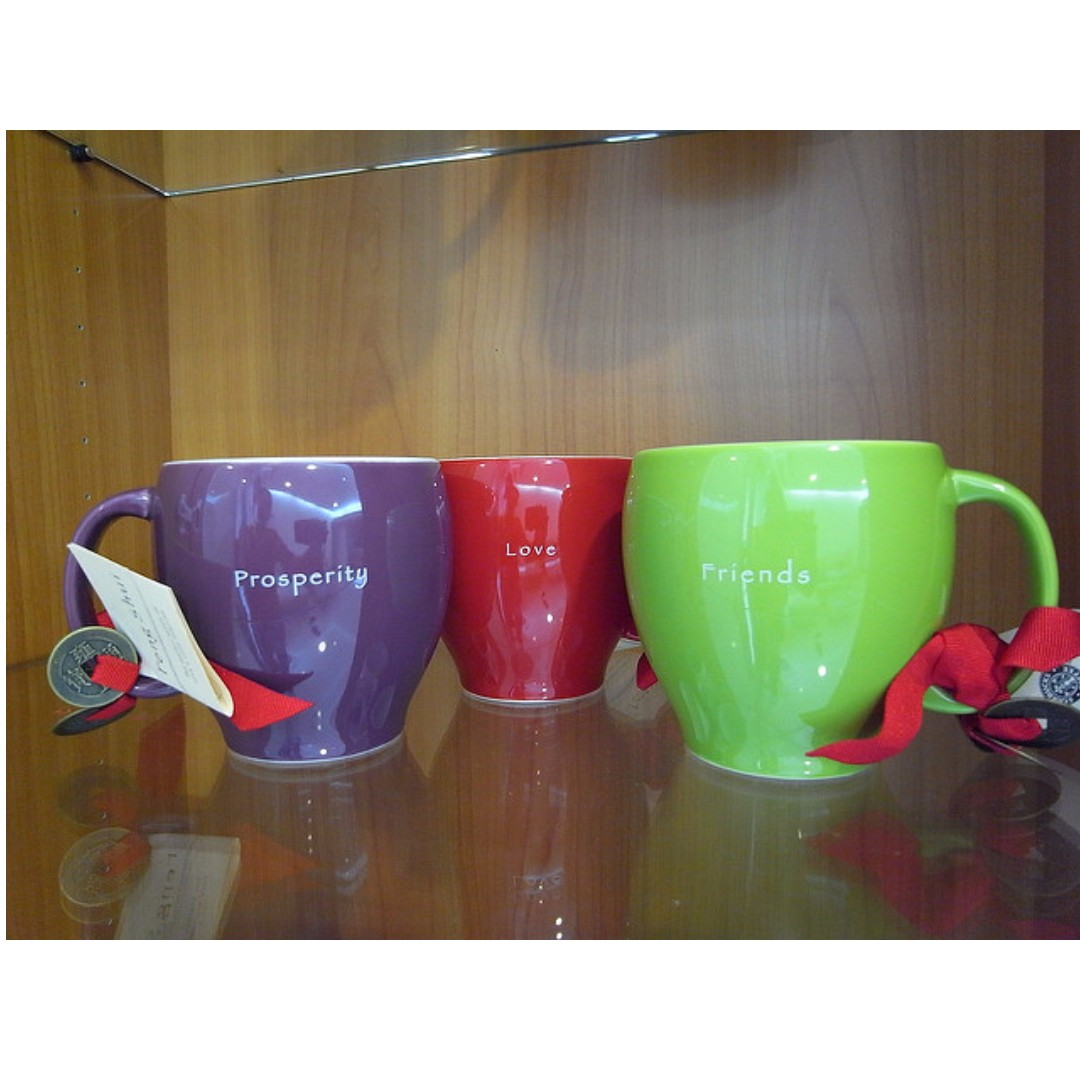【品牌蒐藏】3 STARBUCKS FENG SHUI MUGS  (星巴克 風水系列- 2004 Limited Edition)