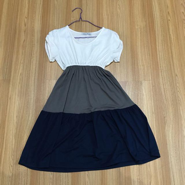 3-tone Color Dress
