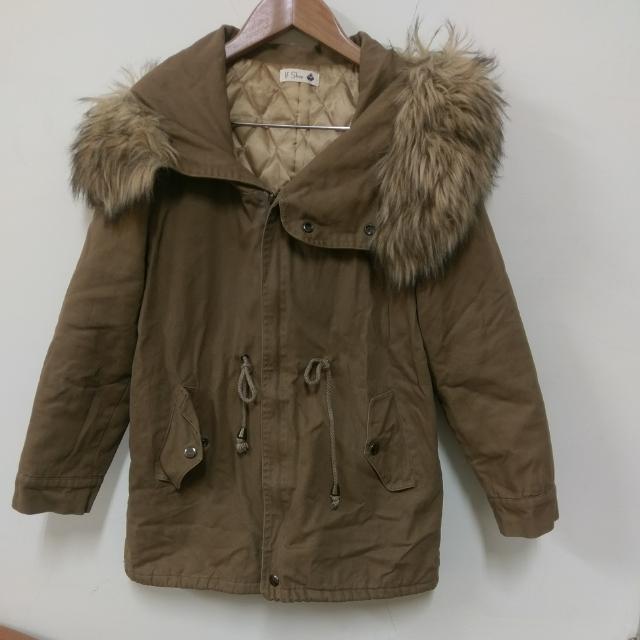 後開衩保暖鋪棉毛毛外套大衣