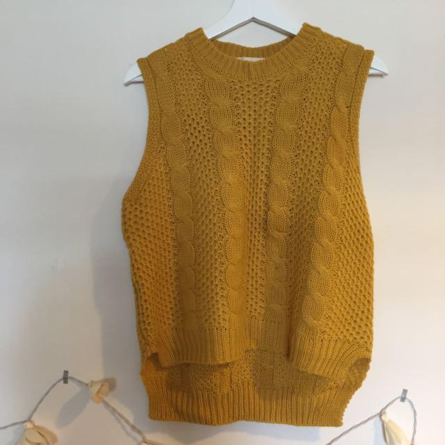 黃色針織背心