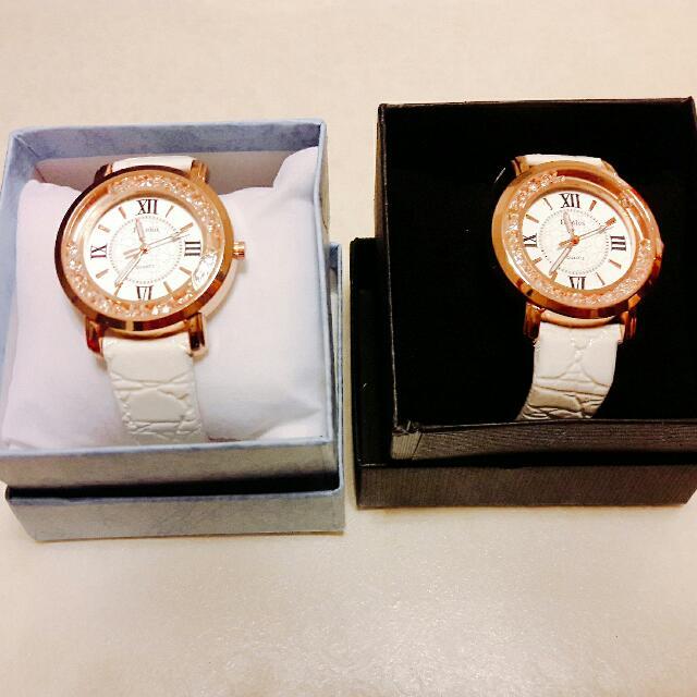清倉只剩兩支白色粉鑽石女孩手錶便宜賣!!!