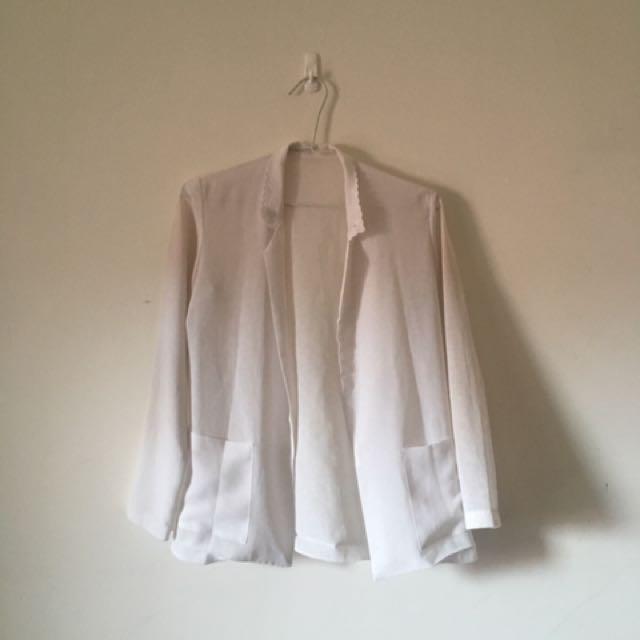 古著良品 白色透膚絲麻 外套