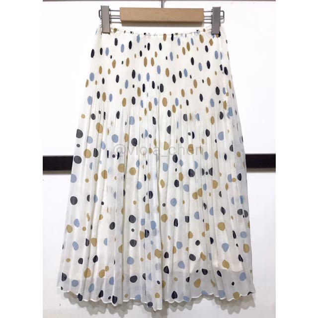 日本古著 復古圓點米色雪紡紗 腰頭細百摺中長裙 (有內裡)A Model Room 另有圖片上單寧襯衫喔!