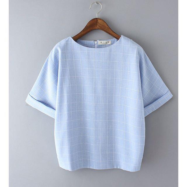 (現貨)小清新 學院風 文藝 寬鬆圓領 顯瘦 短袖棉麻 格子 T恤