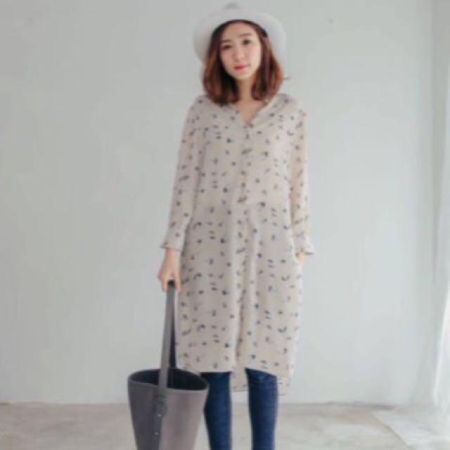 韓 Rei Shop 鑽石花花雪紡洋裝罩衫