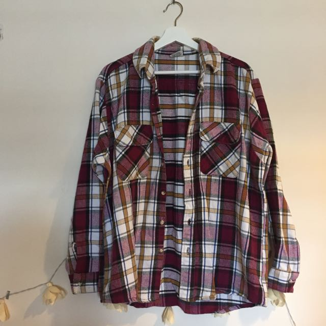 A ROOM MODEL 桃紅格紋襯衫