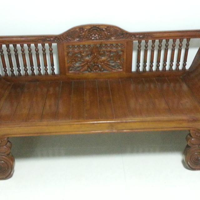 Antique Carved Teak Wood Daybed From