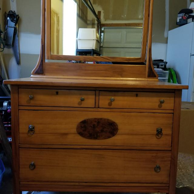 Antique Maple Dresser Mirror