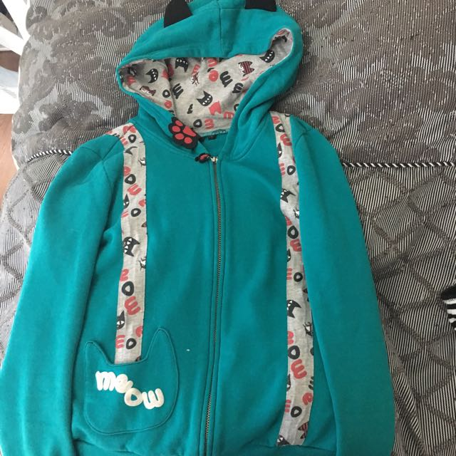 Aqua Cat Hoodie With Cat Ears (size S 8/10)