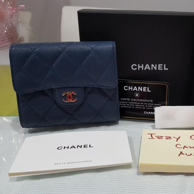 Authentic Brand New Chanel Compact Wallet in Navy Blue Caviar Leather