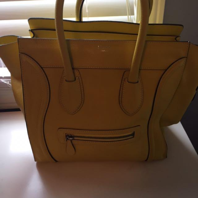 Authentic Yellow Medium Celine Handbag