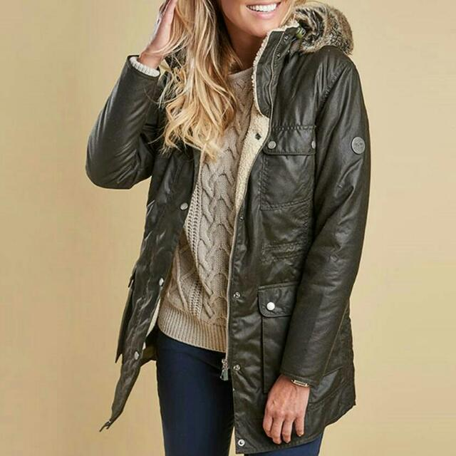 英國經典BARBOUR橄欖綠油布外套 Women's Barbour Carribena Wax Jacket