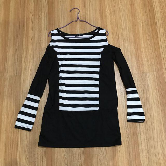 Black & White Stripes Cold Shoulder Dress