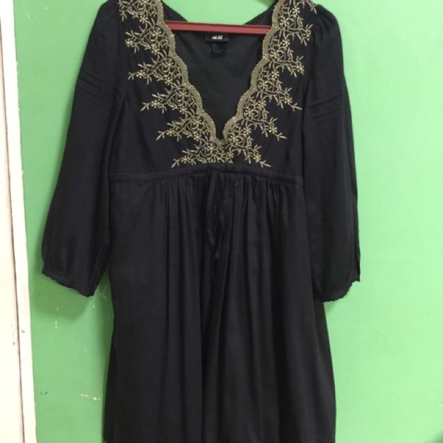 Black Dress With Asian Embroidery