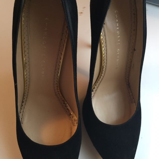 Black Suede Authentic High Heel Charlotte Olympia Pumps