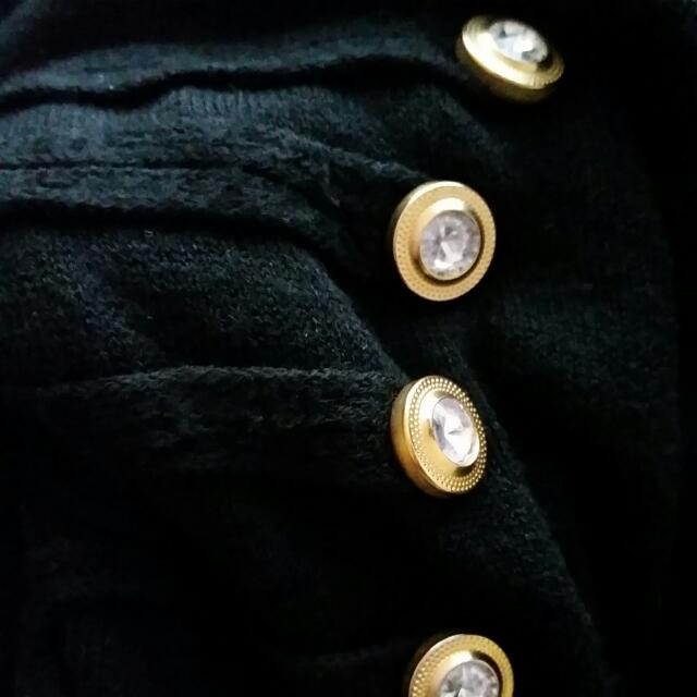 Black Turtle Neck With Gold Buttons