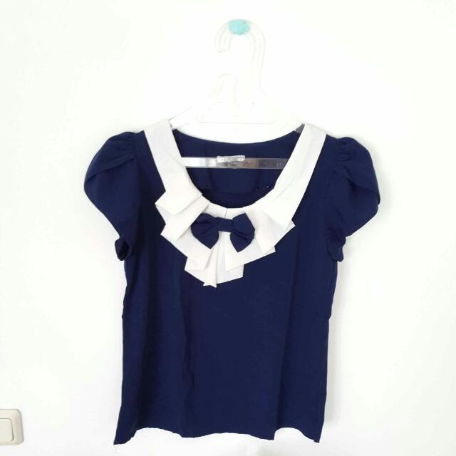 Blouse Navy White With Ribbon