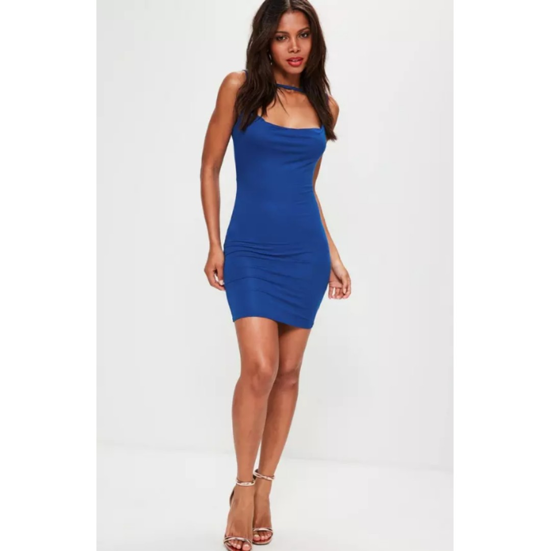 NEW blue cowl front multi strap jersey dress