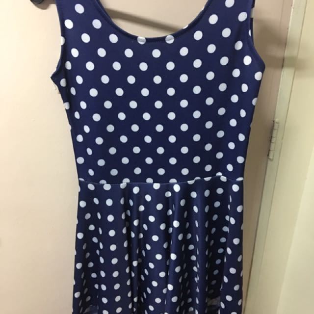 Blue Polkadot Mesh Dress