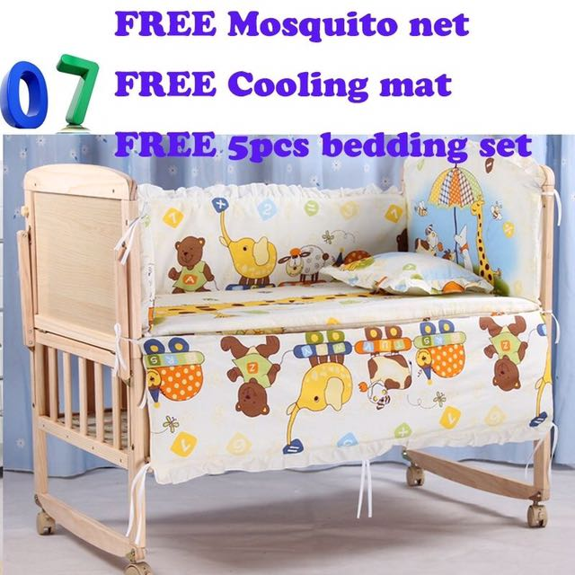 70189d603 Brand new wooden paul baby Cot  bed crib free bedding Set  free ...