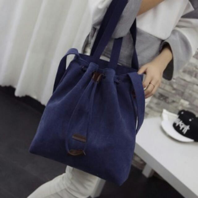 Brandnew String Lock Shoulder Bag Blue -