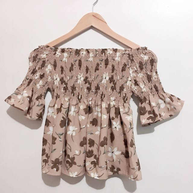 Brown Floral Off Shoulder