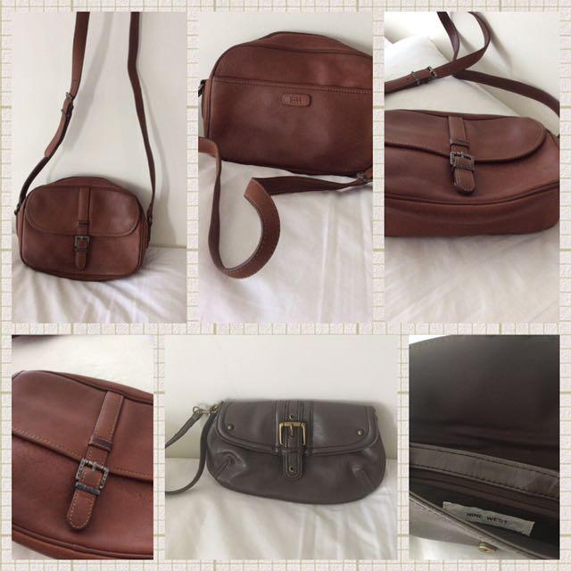 Bundle of Nine West leather bag plus Nine West leather wristlet