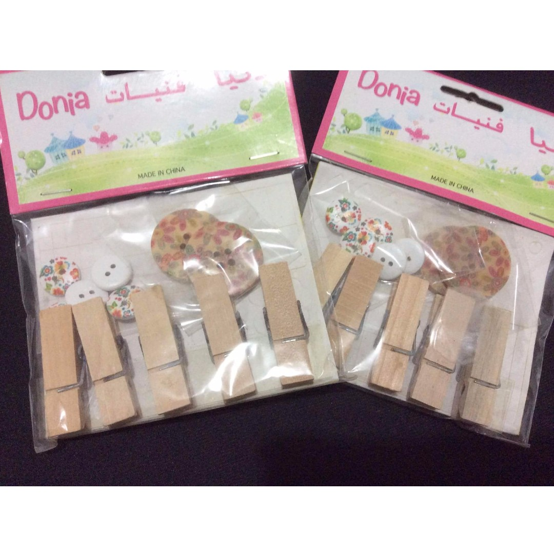 Clothespins with Buttons (2 sets)