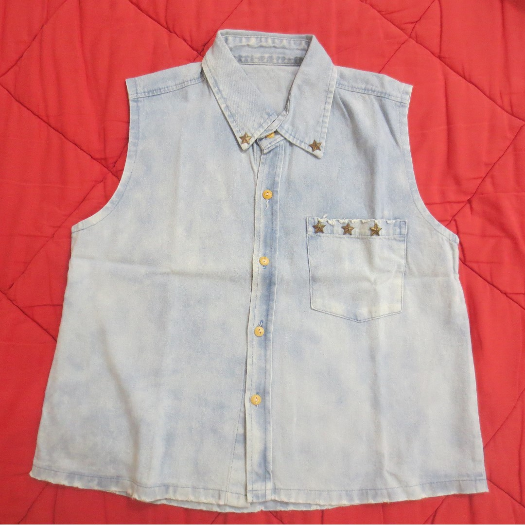 Denim Stud Top