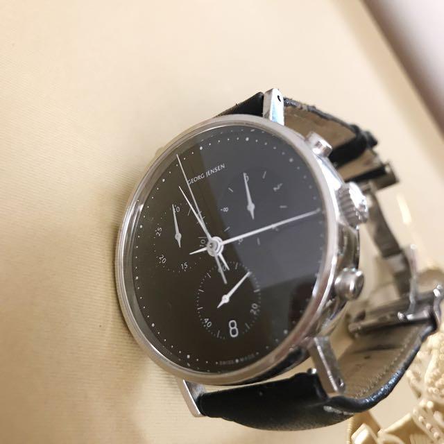 (二手)GEORG JESEN男款皮帶錶