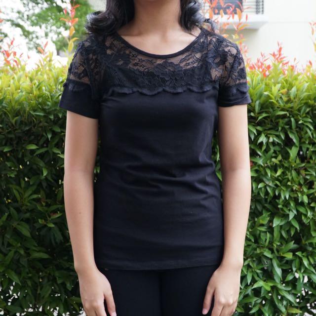 H&M Black Lace Shirt