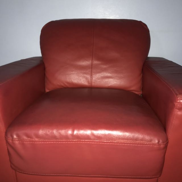 Imitation Leather Red Single Seater