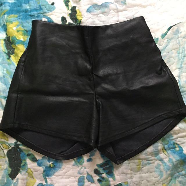 Leatherette High Waist Shorts