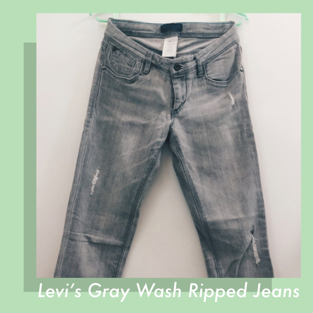 Levi's Gray Wash Skinny Ripped Jeans