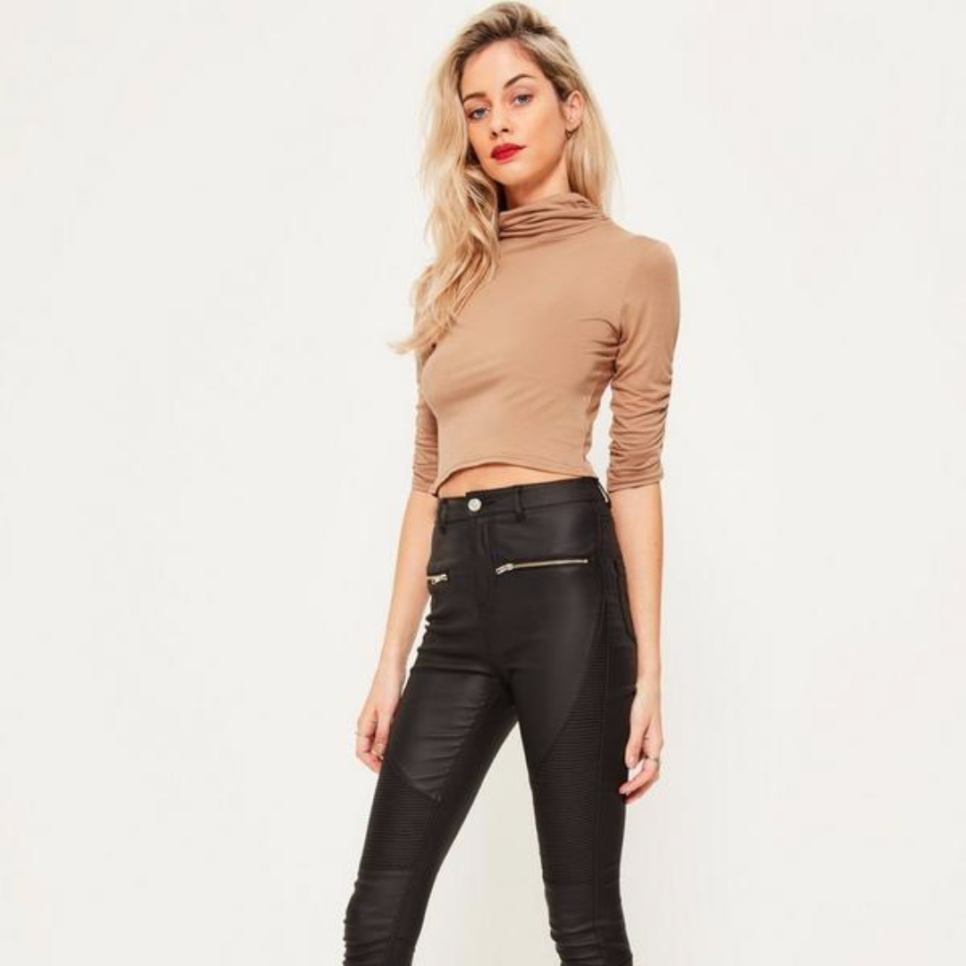 d3f388a82a MISSGUIDED camel gathered sleeve high neck crop top
