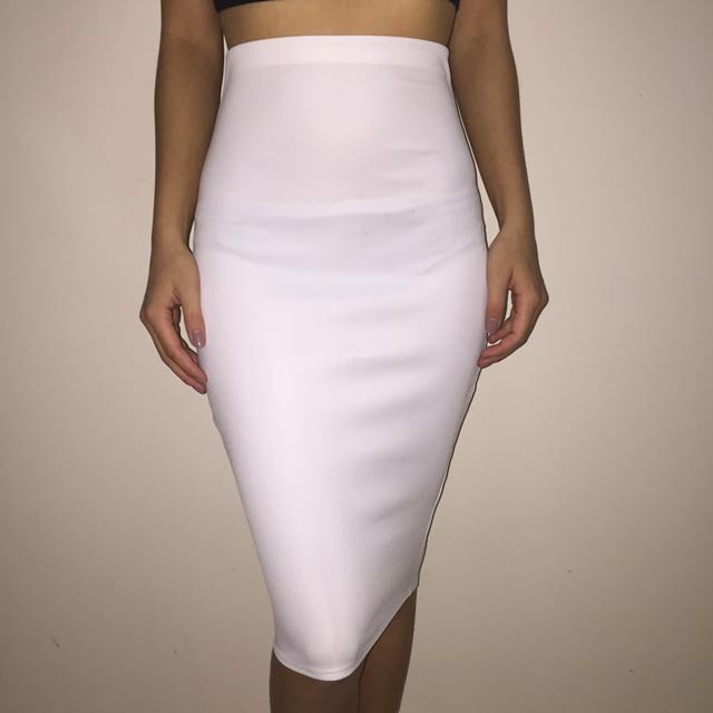 Missguided Midi Skirt White
