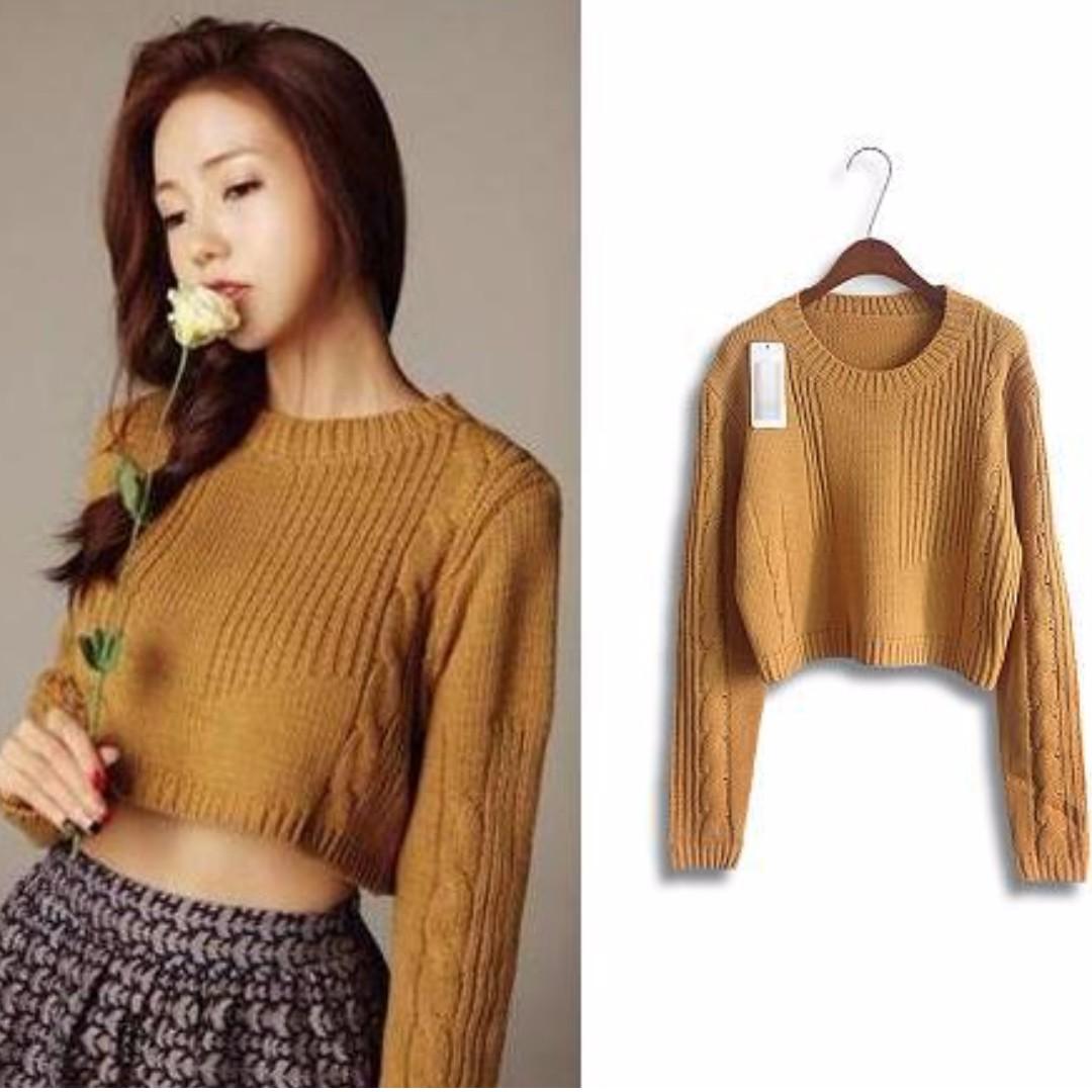 PRELOVED!!Mustard Crop Knitted Sweater