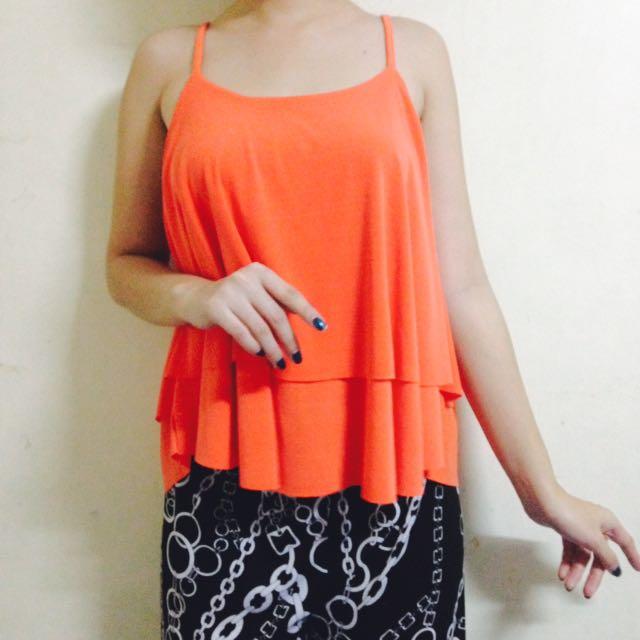 REPRICED! Neon Orange Sleeveless Top