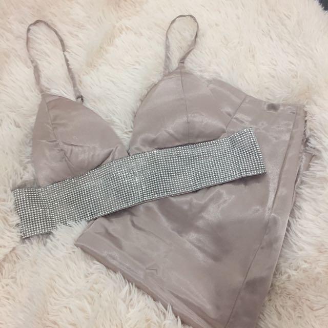 Pink Diamanté Silk Set