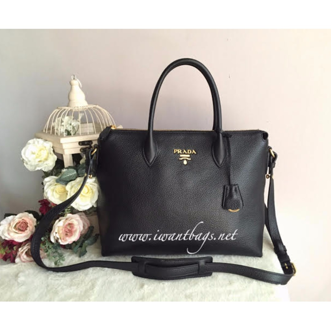 7a62af11a3448c Prada 1BA063 Vitello Phenix Leather Bag-Black, Luxury, Bags & Wallets on  Carousell