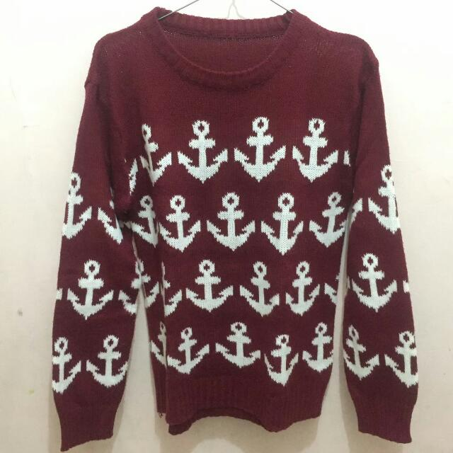 Red Anchor Sweater Top