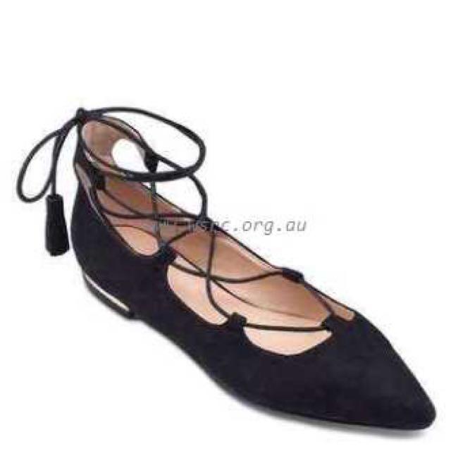 Something Borrowed Lace Up Flat Shoes