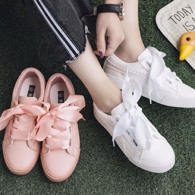 Summer! 四季可穿 皮質 緞帶鞋帶 兩種鞋帶 厚底休閒鞋