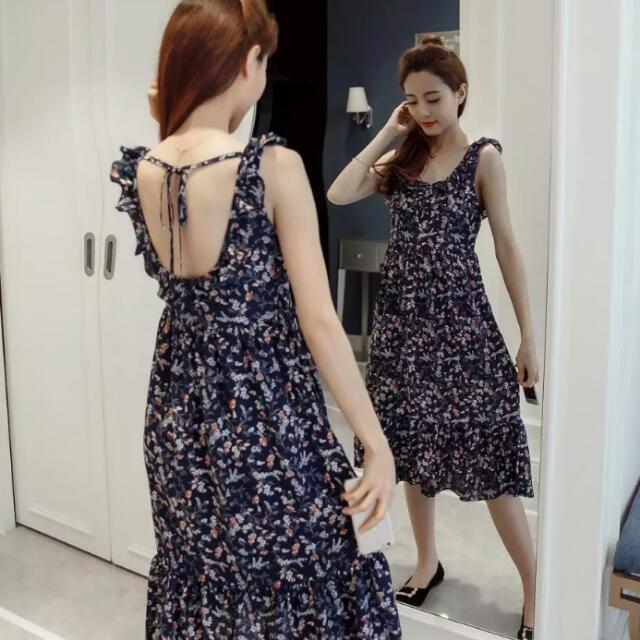Summer Plus Size S 2xl Women Sleeveless Floral Print Ruffles Dresses