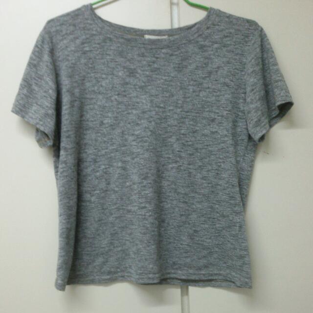 灰色竹節棉T恤