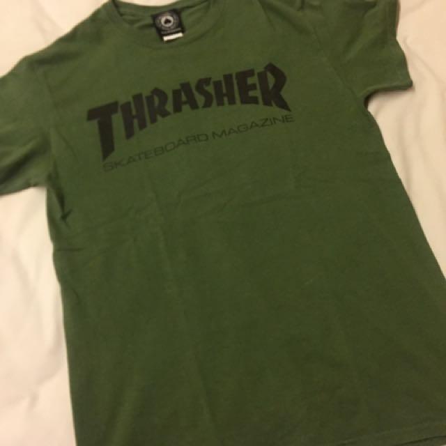 Thrasher Logo Olive Green T-shirt