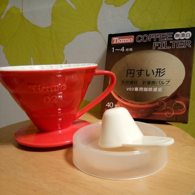 Tiamo螺旋紋陶瓷咖啡濾杯送專用濾紙40枚