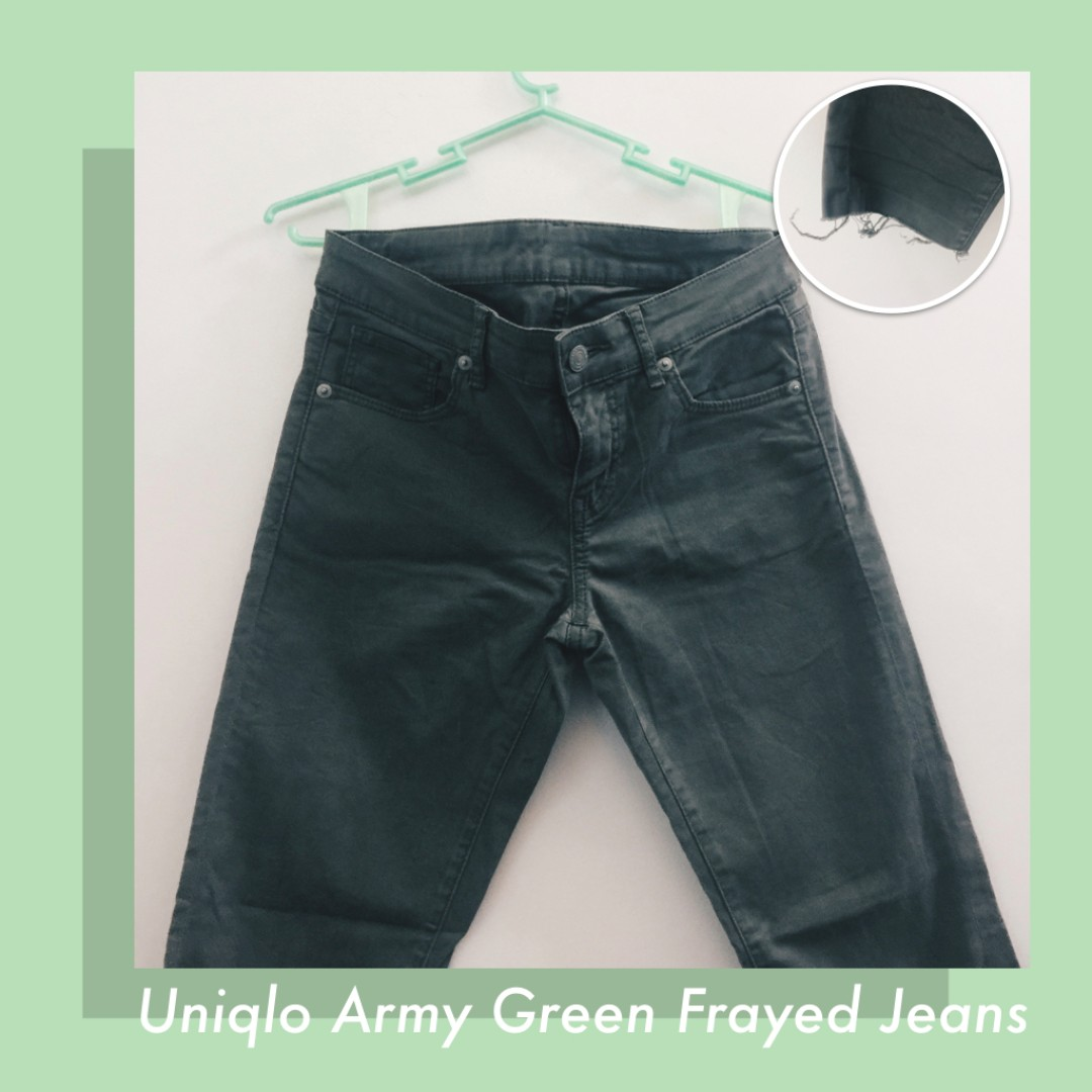 ❗️REPRICED❗️UNIQLO Army Green Frayed Jeans